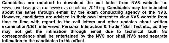 NVS Recruitment Test Call Letter Download